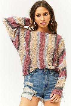 Striped Knit Dolman Sweater