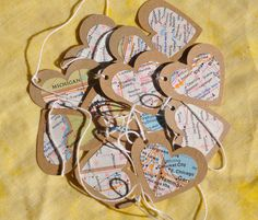 DIY: Road Map Garland  --not all about hearts, but I like the idea--mb use this idea with bunting???
