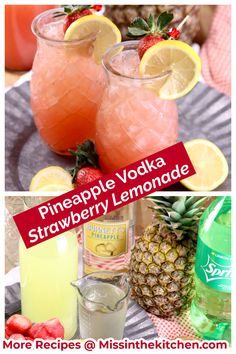 The next time you are mixing up drinks, give these Pineapple Vodka Strawberry Lemonade Cocktails a try! It is sure to brighten any day and great for get together with friends. Strawberry Vodka Drinks, Strawberry Lemonade Punch, Orange Juice Cocktails, Vodka And Pineapple Juice, Pineapple Cocktail, Pineapple Lemonade, Vodka Lemonade, Lemonade Cocktail, Vodka Cocktails