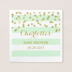 Mint Green Stripes Gold Confetti Baby Shower Napkin