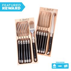 Laguiole Knife and Fork Set 6 pce #flybuysnz #laguiole #750points #OFHNZ