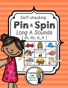 Long A centers.  ay, ai, a_e    Pin and Spin is a self-correcting activity that students can use during centers or as a review of skills. Students read the prompt, then PIN their clothespins on their answers. To check their work, students SPIN their board over to the back. Their clothespins they pinned to the front should line up with the correct answers shown on the back.