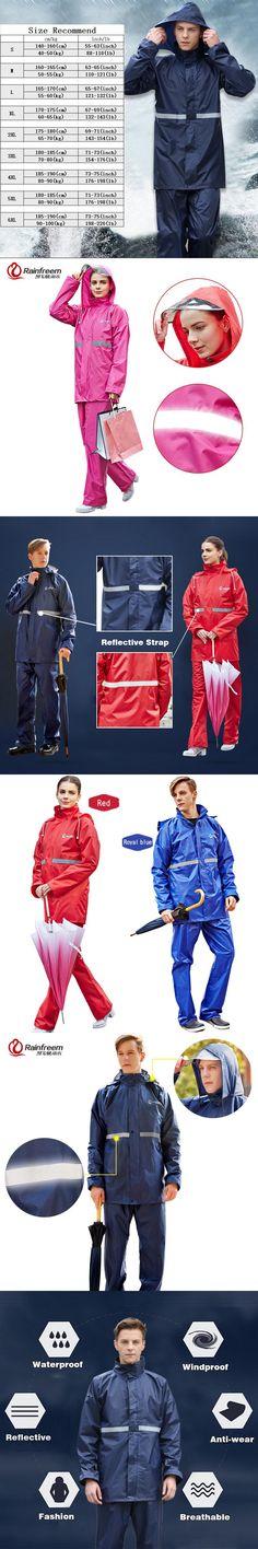Rainfreem Raincoat Suit Impermeable Women/Men Hooded Motorcycle Poncho Motorcycle Rainwear S-6XL Hiking Fishing Rain Gear