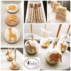 Antique safari themed baby shower dessert table sweets
