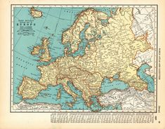 1936 Antique EUROPE Map 1930s Vintage Map of Europe Gallery Wall Art 8300 Antique Maps, Vintage Travel Posters, Vintage Wall Art, Vintage World Maps, My Art Studio, Animal Skulls, Historical Maps, Vintage Colors, Custom Posters