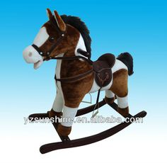 plush rocking horse stuffed with ppcotton with wooden base for kids $14~$17