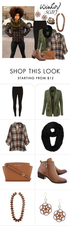 """""""Winter Scarf"""" by aharcaki ❤ liked on Polyvore featuring Dorothy Perkins, LE3NO, Bobeau, MICHAEL Michael Kors and Kenneth Jay Lane"""