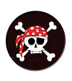 Vista delantera del platos de Piratas 23 cm - 8 unidades en stock