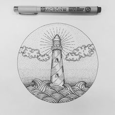 "Phare ""Another example of a lighthouse and linework I like. Dotted Drawings, Pencil Drawings, Art Drawings, Blackwork, Graffiti Art, Lighthouse Drawing, Stippling Art, Pen Art, Future Tattoos"
