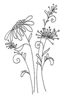 Embroidery Flower Patterns Whimsical flower pattern from a Penny Black stamp - Idea - get pattern similar…… More - Embroidery Designs, Crewel Embroidery, Hand Embroidery Patterns, Embroidery Kits, Embroidery Tattoo, Simple Embroidery, Vintage Embroidery, Diy Hand Embroidery Letters, Geometric Embroidery