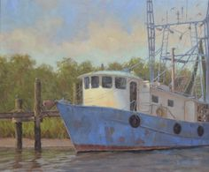 "20x24"" Oil Blue Shrimp Boat Blue Shrimp, Shrimp Boat, Oil On Canvas, Places To Visit, Woodworking, Fine Art, Artwork, Artist, Inspiration"