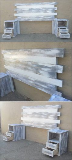 Staggering Incredible Shipping Pallet Projects Distressed Color Wooden Pallet Headboard Idea Here we have idea for you to make a classic headboard with wooden pallets. Make sure cuttings and measur. Diy Pallet Furniture, Diy Pallet Projects, Furniture Projects, Farmhouse Furniture, Wood Projects, Garden Furniture, Repurposed Furniture, Furniture Stores, Pallet Diy Decor