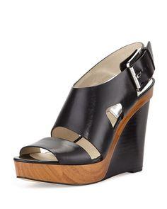 99718498a61b New MICHAEL Michael Kors Womens Carla Black Leather Platform Wedge Sandals  Sz 8  MichaelKors