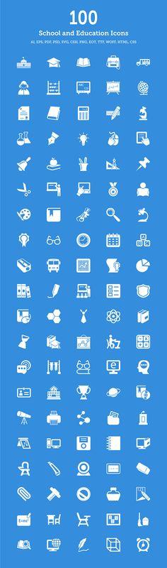 100 School & Education Icons