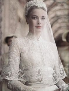 Grace Kelly's timeless style is definitely seen in her wedding dress.