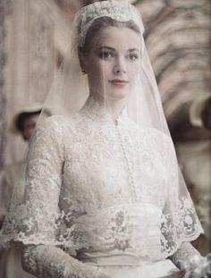 Grace Kelly's timeless style is definitely seen in her wedding dress.