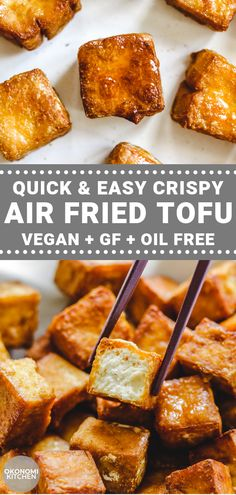 This Quick and Easy Crispy Air Fried Tofu is the BEST way to prepare tofu! Only 4 ingredients needed and made in less than 30 minutes. Dress with your favourite sauces or enjoy on its own for a delicious high protein Vegan meal. High Protein Vegan Recipes, Vegan Recipes Easy, Whole Food Recipes, Vegetarian Recipes, Cooking Recipes, Firm Tofu Recipes, Recipes With Tofu Healthy, Meat Recipes, Best Tofu Recipes