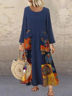 Shopping Round Neck Pockets Printed Maxi Dress online with high-quality and best prices Maxi Dresses at Luvyle. Long Sleeve Maxi, Maxi Dress With Sleeves, Sleeve Dresses, Dress Pockets, Women's Fashion Dresses, Casual Dresses, Mode Kimono, Mode Hippie, Look Boho