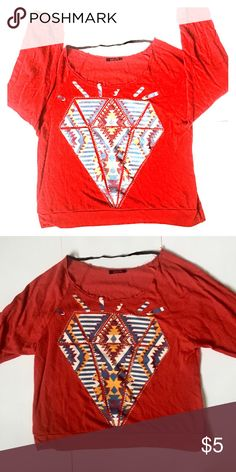 Women's Sweater with Diamond Tribal Design Women's sweater with diamond and tribal pattern. Size is Large. This sweater is in good condition. Sweaters Crew & Scoop Necks