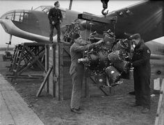 A Bristol Taurus VI engine is unshipped from Bristol Beaufort Mark I, of No. 217 Squadron RAF at St Eval, Cornwall. Air Force Aircraft, Ww2 Aircraft, Military Aircraft, Bristol Beaufighter, Radial Engine, Battle Of Britain, Royal Air Force, Luftwaffe, Photo Postcards