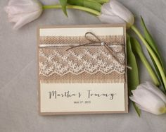 Custom listing (100) Recycling Paper, Burlap Invitation, Lace Wedding Invitation, Pocket Fold Rustic