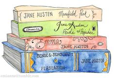 What a beautiful drawing of some of Austen's novels.