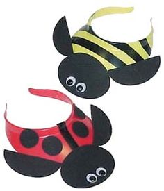 Bumble Bee and Lady Bug Visors. Make these adorable visors while earning the Girl Scout Bug Badge. For instructions go to MakingFriends.com