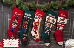 Medias de lana Conjunto de 5 de punto personalizada Media de la Navidad / Mary Maxim Medias de Navidad / Mano de punto personalizada / bordados