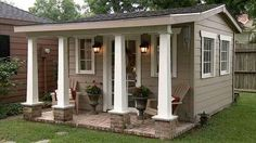 Incredible backyard storage shed makeover design ideas - Modern Backyard Storage Sheds, Backyard Sheds, Backyard Retreat, Shed Storage, Storage Design, Backyard Studio, Garden Sheds, Backyard House, Backyard Cottage