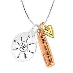 "Amazon.com: Tri-Tone ""Choose Your Own Path. To Thine Own Self Be True"" - Shakespeare Reversible Compass Three-Charm Necklace, 18"": Jewelry"