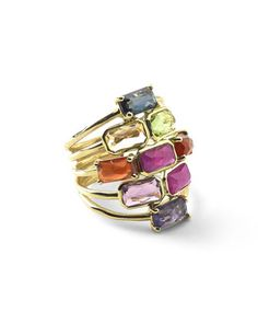 18k Rock Candy Mosaic Cascade Ring, Fall Rainbow by Ippolita at Neiman Marcus.