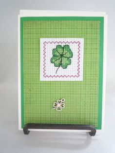 A Little Luck hand stitched greeting card by HMCrafters on Etsy