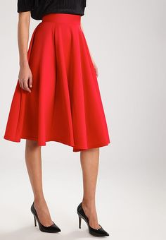 A-line skjørt - bright red @ Zalando. Waist Skirt, Midi Skirt, High Waisted Skirt, Bright, Fall Skirts, Service Client, Dresses, Winter, Fashion