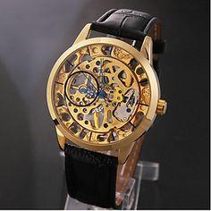Menns Elegant Gold Skeleton Black Leather Band Manuell Mekaniske armbåndsur – NOK kr. 106
