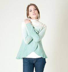 The wrap felt coat have a hand dyed ombre gradient in ice mint that match with the off white or cream base color. This amazing mint cardigan is made from merino wool knitted with lightweight felted work. Trendy women clothing which style is very versatile.  REMEMBER: This alone in the world. #Black_Friday #Mint #cardigan #wrap #felt #coat #circle