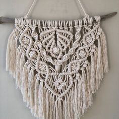 Boho, Scandi style, bohemian wall decoration with floating wood, small size - Scandinavian Design Trends - Have Best Home Decor ! Macrame Wall Hanger, Macrame Wall Hanging Patterns, Macrame Patterns, Tuscan Wall Decor, Bohemian Wall Decor, Bohemian Style, Modern Macrame, Wall Hanging Designs, Macrame Projects