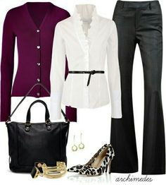 Todays outfit - work attire - love the colors white, gray & plum (not the shoes! Top Mode, Mode Plus, Mode Outfits, Casual Outfits, Fashion Outfits, Fashion Trends, Office Fashion, Work Fashion, Cheap Fashion