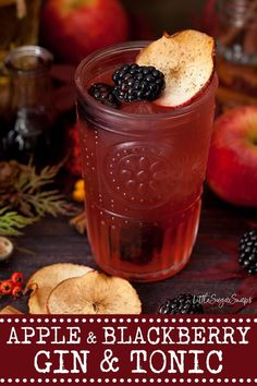 GIN & TONIC with APPLE & BLACKBERRY - perfect for Fall #gintonic #ginandtonic #gin&tonic #applegin #blackberrygin #autmngindrink #fallgindrink #autumnginandtonic #fallginandtonic #littlesugarsnaps Frozen Drink Recipes, Best Cocktail Recipes, Sangria Recipes, Beer Recipes, Margarita Recipes, Punch Recipes, Snack Recipes, Fun Cocktails, Fun Drinks