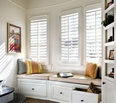 Perfect shutters for a window seat! 757-482-6622...http://www.greatbridgefurnitureonline.com/
