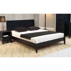 Add a modern touch to your bedroom with this queen-size platform bed from Cordaba. A classic matte black finish and durable construction highlight this stylish bed. Queen Size Platform Bed, Wood Platform Bed, Platform Bedroom, King Beds, Queen Beds, Bedroom Sets, Bedding Sets, Platform Bed Designs, Stylish Beds