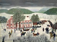 Grandma Moses-Checkered House 1955 Painting by RaesVintage on Etsy Grandma Moses, Pictures To Paint, Painting Pictures, Winter Images, Painted Books, African American Art, Naive Art, Book Pages, Traditional Art