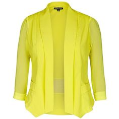 City Chic Drapey Blazer Jacket (£54) ❤ liked on Polyvore featuring outerwear, jackets, blazers, tops, long blazer jacket, yellow blazer jacket, drape jacket, drapey blazer and light weight jacket