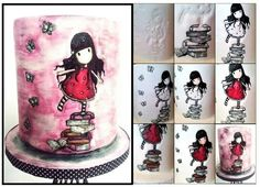 Painted cake art, little girl on a stack of books.