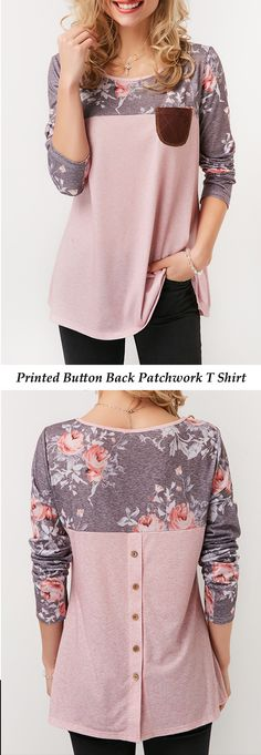 Printed Round Neck Button Back Patchwork T Shirt   #liligal #tees #tshirt #top #womenswear #womensfashion