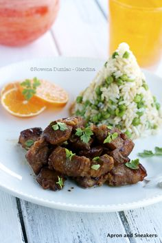 Clementine Pork Adobo with Sautéed Green Pea Rice | Apron and Sneakers