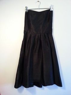1980s Vintage Strapless Dress Black  Midi by ArtifactVintageCo