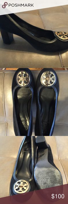 Tory Burch pumps Black suede Tory Burch comes with leather trim and go logo medallion on front. Tory Burch Shoes Heels