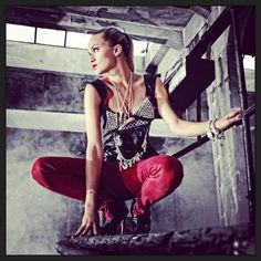 Anina W corset with studs and leather skinnies