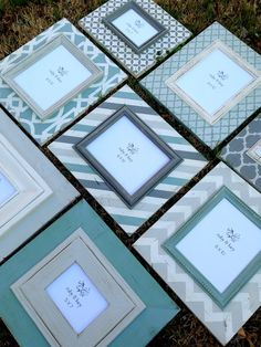 set of eight distressed frames multi sized in heirloom, duck egg, charcoal, & revere pewter--perfect for beach photos on Etsy, $525.00