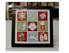 Love this framed holiday collage by Connie! She used mainly items from Stampin' Up's Holiday Catalog and they look wonderful all together!